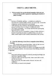English Worksheets: useful arguments