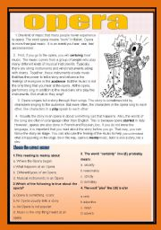 English Worksheet: Reading comprehension ( music and opera)
