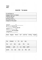 English Worksheets: Imagine (Song by the Beatles) activity