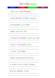 English Worksheet: let�s play syntax