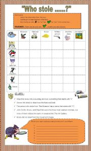 English Worksheet: The �Who stole .... ? Mystery + key + teacher�s note