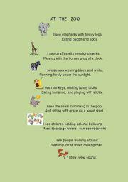 English Worksheet: ANIMAL POEM