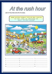 English Worksheet: At the rush hour