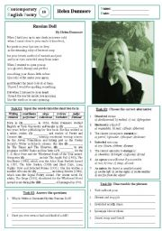 English Worksheet: Contemporary English Poetry 10 - Helen Dunmore