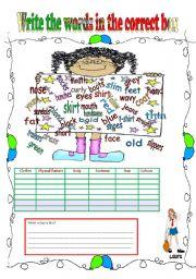 English Worksheet: Physical description vocabulary-3