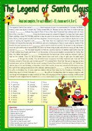 English Worksheet: THE LEGEND OF SANTA CLAUS.