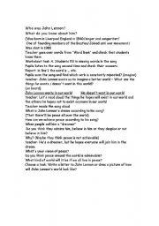 English Worksheet: song: Imagine - lesson plan + worksheet