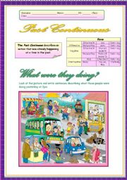 English Worksheet: Past Continuous