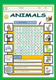 English Worksheet: Animals wordsearch