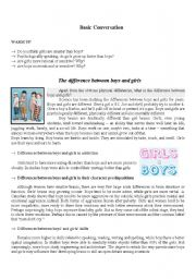 English Worksheets: Boys and Girls