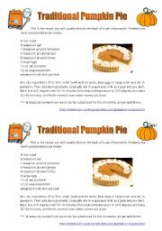English Worksheet: Pumpkin Pie Recipe