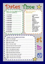 English Worksheet: time-dates