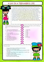 English Worksheets: A TYPICAL DAY IN A TEENAGER�S LIFE