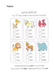 English Worksheets: Land Animals
