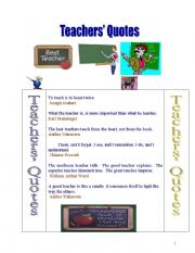 English Worksheets: Useful Teachers� Quotes