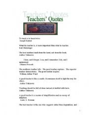 English Worksheets: Useful Quotes for Teachers (part I)