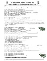 English Worksheet: Second Conditional song worksheet ´If I had a million dollars´ Barenaked ladies