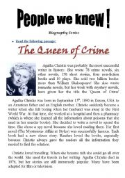 English Worksheets: People We Knew (Biography Series): Queen of Crime