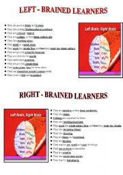 English Worksheets: Right - Left Brained Learners