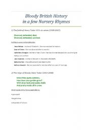 English Worksheet: Bloody British History in English Nursery Rhymes