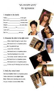 English Worksheet: We found Love...by Rihanna