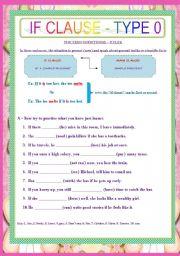 English Worksheet: IF CLAUSE - TYPE 0