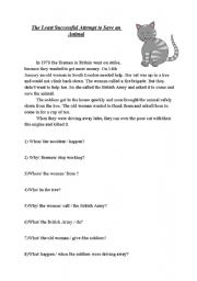 English worksheet: The Least Succesful Attempt to Save an Animal