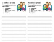 English Worksheets: a member of a family writing worksheet