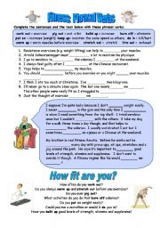English Worksheet: Fitness phrasal verbs