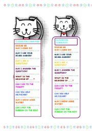 English Worksheet: Classroom Commands bookmark