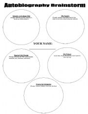 English Worksheets: Autobiography Organizer