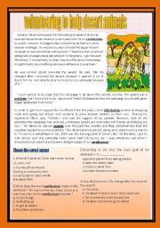 English Worksheets: Reading comprehension(volunteering)