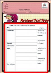English Worksheets: Recount text scaffold