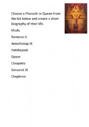 English Worksheets: egyptian pharoas