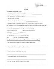 English Worksheet: Simpleand compound sentences worksheet/quiz