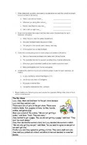 English Worksheets: Grammar and reading comprehension