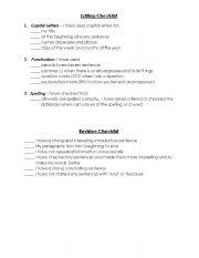 English Worksheets: Editing and Revising Checklist