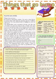 English Worksheets: ghost stories: THINGS THAT GO BUMP