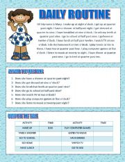 English Worksheets: MARY�S DAILY ROUTINE