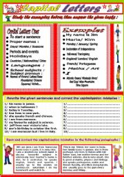 English Worksheet: Capital letters
