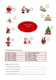 English Worksheets: What is Santa doing?