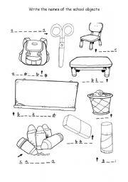 worksheet: School objects spelling
