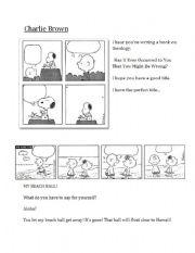 English worksheet: Graphic Text - Comic Strip (Charlie Brown)