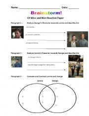 English Worksheets: Of Mice and Men Reaction Paper Graphic Organizer