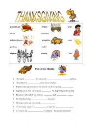 Thanksgiving Fill in the Blanks