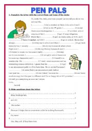 English Worksheet: PENPALS - VERB TENSES + MAKING QUESTIONS