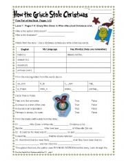 How the Grinch Stole Christmas Part 1/6 - ESL worksheet by dturner