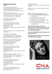 English Worksheets: Someone like you - Adele - Second Conditional