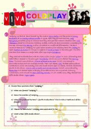 English worksheet: Coldplay reading