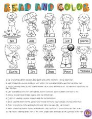 English Worksheet: READ AND COLOR
